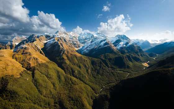 горы, небо, природа, закат, лес, вершины, снег, landscape, oblaka, sun,