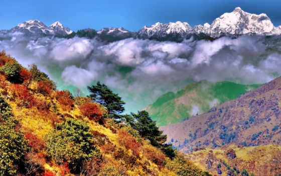 гималаи, india, горы, западная, осень, oblaka, бенгальский, you,