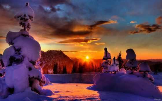winter, закат, sun, снег