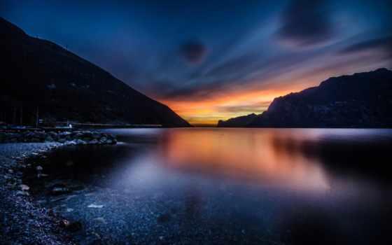 гора, природа, озеро, best, italian, вечер, буря, lightning, закат, loaded