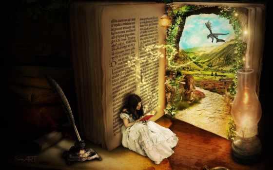 fantasy, дверь, девушка, открывает, двери, книгу, были, красочными, разных, маленькими, большими,
