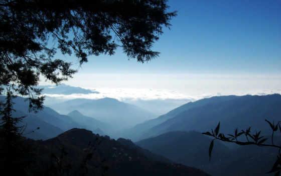горы, облаков, утренний