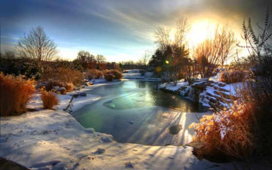 winter, рассвет, снег