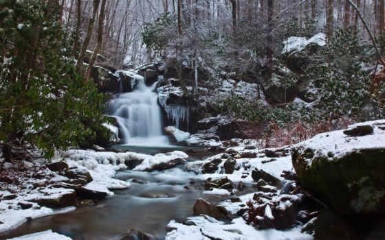 лес, водопад, природа, pictures, scene, winter, снег, креатив, free, file,