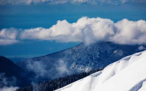 сочи, природа, красная, поляна, russian, landscape, гора, oblaka, winter, снег,