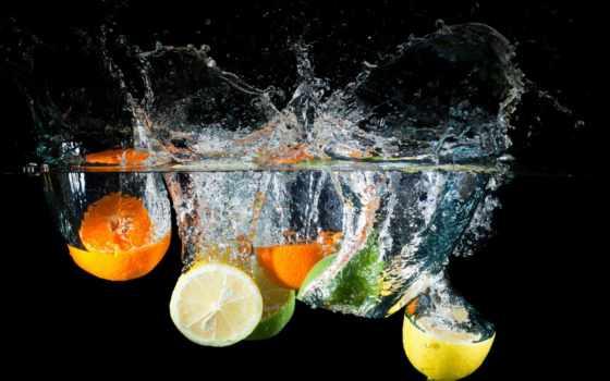 лайм, брызги, lemon, water, цитрусы, waters, скинали, оранжевый, капли, свежесть, черном,