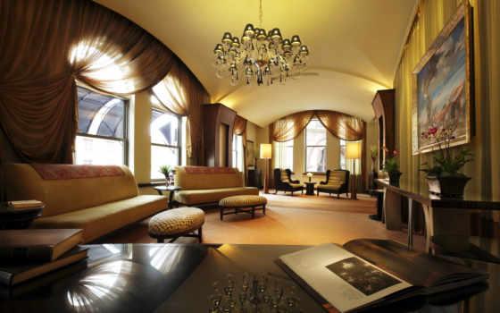 интерьер, design, комната, диваны, окна, люстра, стиль, шторы,