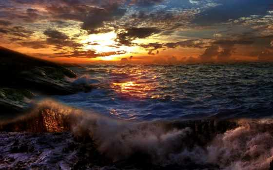,буря, небо, волны, солнце