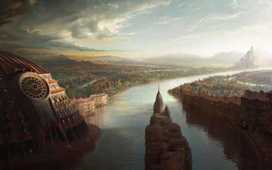 fantasy, landscape, пейзажи -, городов, город, бесплатные,