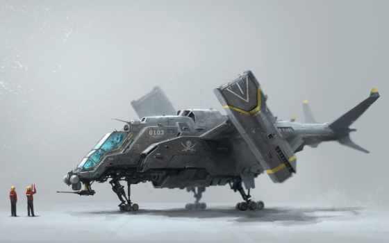 gunship, concept, art, военный, futuristic, vtol, spaceship, самолёт, sci,