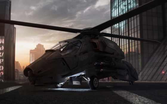 вертолет, закат