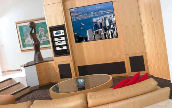 интерьер, домашний, кинотеатр, sem, июня, painéis, tv, para, диван, solicite, visita, uma, compromisso, suportes,