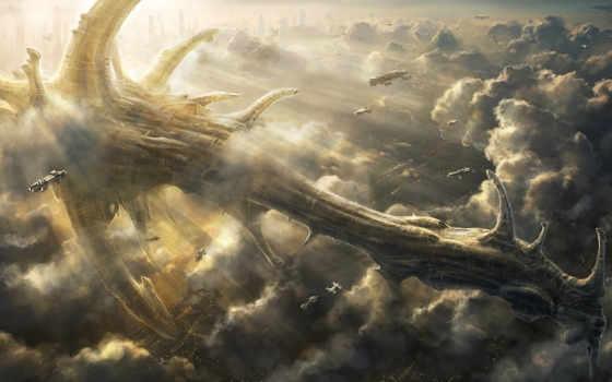 art, корабль, небе, облака, небо, гигант, radojavor, фантастика,