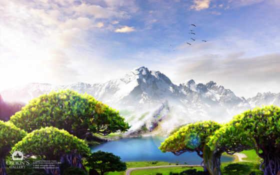 landscape, рисованные, просмотров