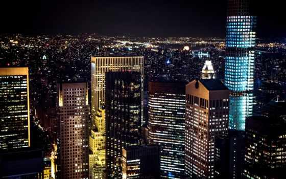 ecran, nuit, ville