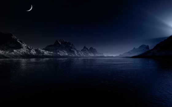 природа, full, со, свет, ночь, луна, one, озером, горы,