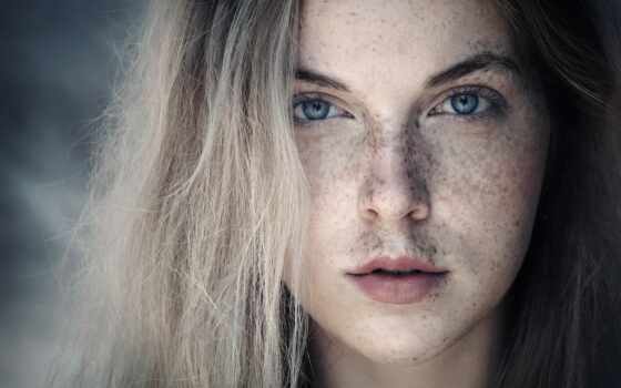 веснушка, женщина, adult, молодой, использование, blonde, portrait, глаза