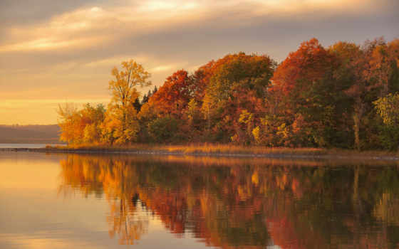 осень, река, landscape