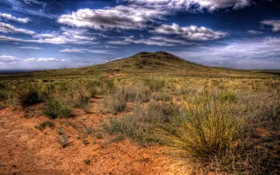 пустыня, растительность, скудная, против, sleeping, вулкан, oblaka, тучи,