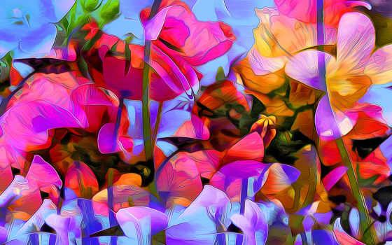 краски, абстракция, рисунок, вектор, rendering, цветы, лепестки, природа, растение,