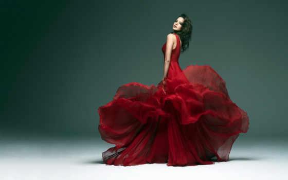 девушка, картинка, платье, красном, tango, спине, картиной,
