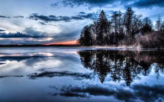 water, отражение, природа, облако, trees, небо