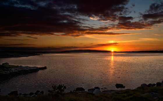 закат, вечер, озеро, pour, sun, облако