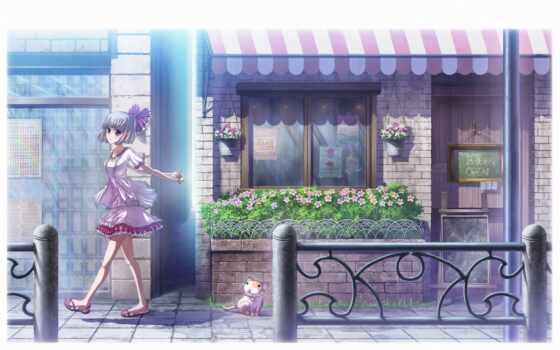 anime, девушка, смотреть, прогулка, волосы, балкон, viewer