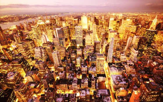 города, высоты, птичьего, город, дома, огни, полёта,