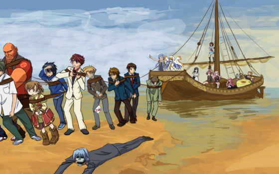 anime, море, корабль