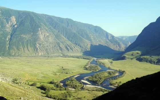река, долина, mountains, fantastic, природа, desktop, радуга, summer,