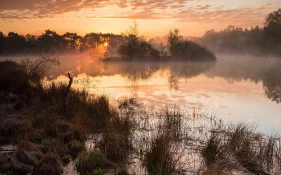 озеро, туман, закат, landscape, озер, ürek, количество, мар,