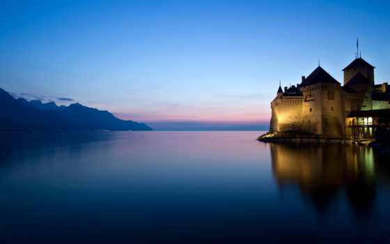 chillon, château, chỉ, teau, castle, this, швейцария,
