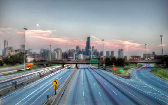 город, skyline, дорога, мост, города, highway, architecture,
