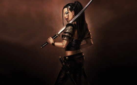 samurai, fantasy, меч, кровь, воин, women, warriors, female, gasmed, woman,