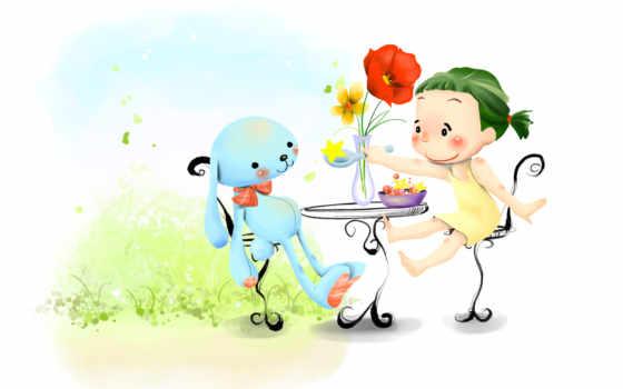 нарисованные, девочка, заяц, ложка, цветы, ваза, тарелка, стулья, стол, поле, трава
