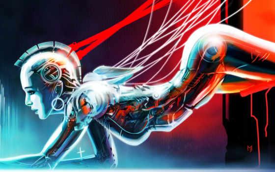 robot, девушка, art