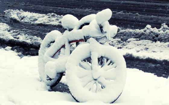 winter, bike, велосипеде