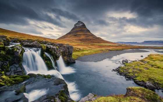 гора, kirkjufell, водопад, iceland, rock,