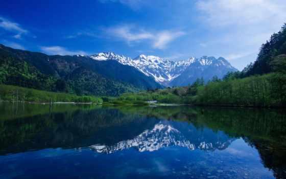 озеро, горы, лесу, подножия, online, разных, разрешениях, япония, puzzle, за,