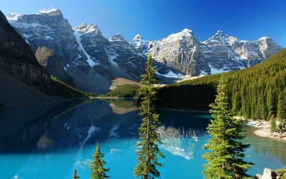 озеро, moraine, eli, горы, небо, лес, канадский, разных, oblaka, красивые,