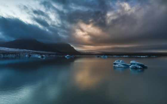 iceland, закат, landscape, небо, море, тучи, горы, льдины, пейзажи -, природа,