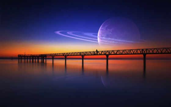 небо, звезды, мужчина, loneliness, фантастика, закат, planet, мост,