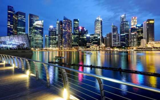 красивые, мира, города, город, singapore, часть, ночью, городов, фотографий, print, холстины,