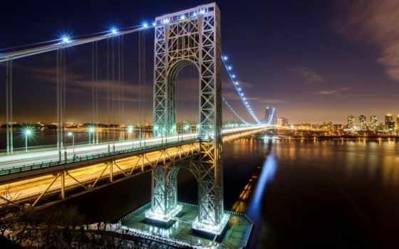 мост, бруклин, new, york, нью, город, ночь, река,
