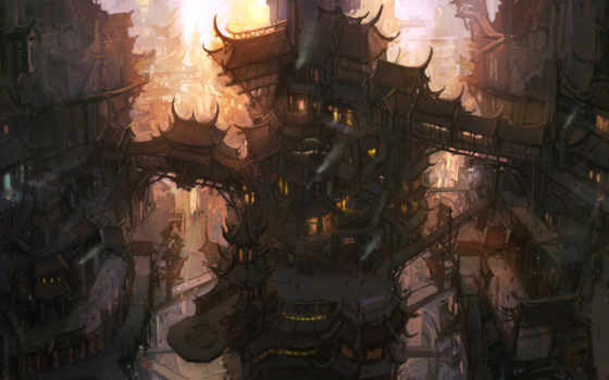 steampunk, город, art, digital, gnome, стиль