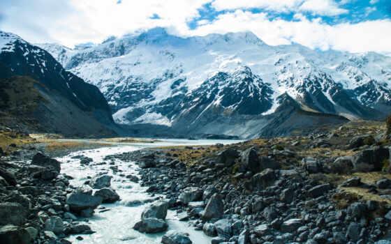 снег, гора, камень, природа, ручей, landscape, река, поток