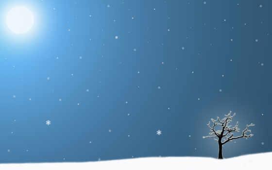 zima, дерево, снежинки