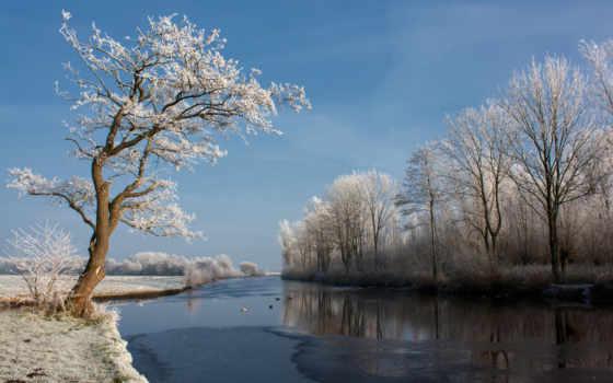 природа, река, небо