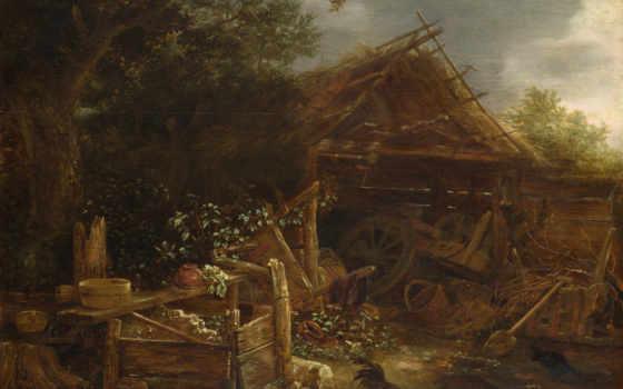 ван, farmyard, ostade